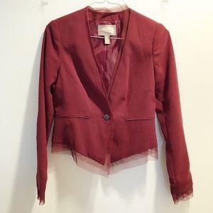 Gorgeous maroon / burgundy mesh-trimmed blazer